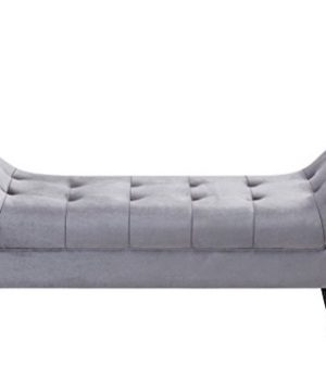 Andeworld Gray Fabric Bed Bench Upholstered Tufted Footstool Entryway Ottoman Bench Two Seaters 0 300x360