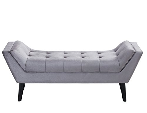 Andeworld Gray Fabric Bed Bench Upholstered Tufted Footstool Entryway Ottoman Bench Two Seaters 0