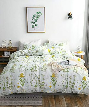 Argstar 2 Pcs Twin Floral Duvet Covers Set Botanical Bedding Set Yellow Flowers And Green Leaves Comforter Cover Soft Lightweight Microfiber For Men Women Boys And Girls 0 0 300x360