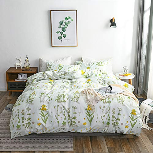 Argstar 2 Pcs Twin Floral Duvet Covers Set Botanical Bedding Set Yellow Flowers And Green Leaves Comforter Cover Soft Lightweight Microfiber For Men Women Boys And Girls 0 0
