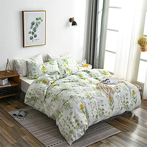 Argstar 2 Pcs Twin Floral Duvet Covers Set Botanical Bedding Set Yellow Flowers And Green Leaves Comforter Cover Soft Lightweight Microfiber For Men Women Boys And Girls 0
