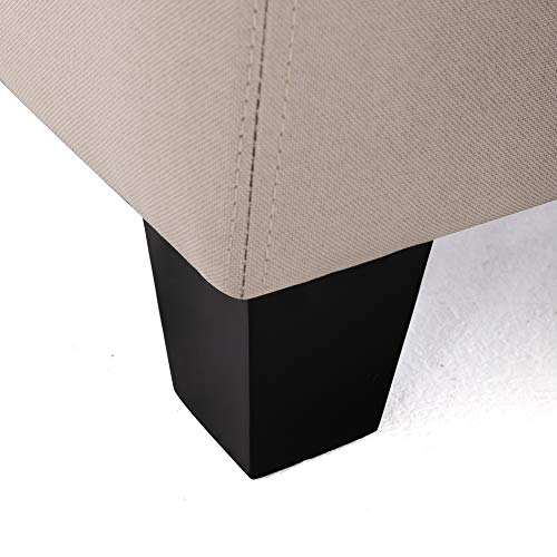 BELLEZE Modern Tufted Storage Ottoman Lift Top Rectangle Footstool Linen Nature 0 4
