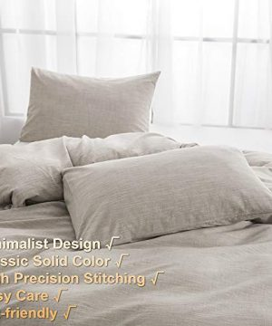 BFS HOME Stonewashed CottonLinen Duvet Cover Twin 3 Piece Comforter Cover Set Breathable And Skin Friendly Bedding Set Khaki Twin 0 0 300x360