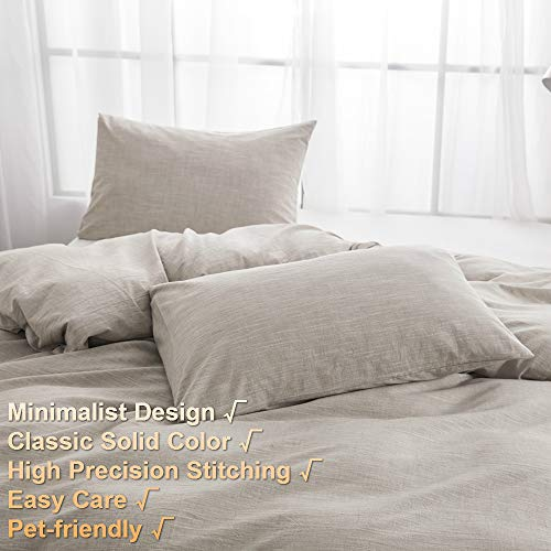 BFS HOME Stonewashed CottonLinen Duvet Cover Twin 3 Piece Comforter Cover Set Breathable And Skin Friendly Bedding Set Khaki Twin 0 0