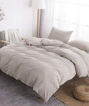 BFS HOME Stonewashed CottonLinen Duvet Cover Twin 3 Piece Comforter Cover Set Breathable And Skin Friendly Bedding Set Khaki Twin 0 3 300x360