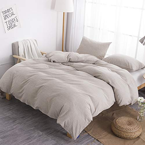 BFS HOME Stonewashed CottonLinen Duvet Cover Twin 3 Piece Comforter Cover Set Breathable And Skin Friendly Bedding Set Khaki Twin 0 3