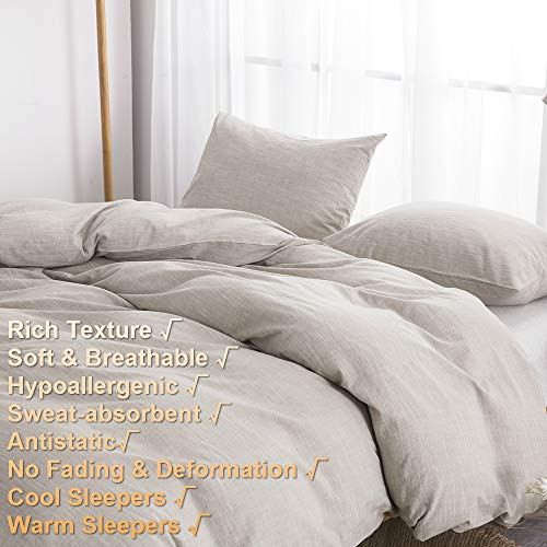 BFS HOME Stonewashed CottonLinen Duvet Cover Twin 3 Piece Comforter Cover Set Breathable And Skin Friendly Bedding Set Khaki Twin 0