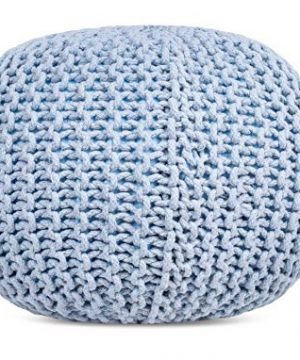 BIRDROCK HOME Round Pouf Foot Stool Ottoman Knit Bean Bag Floor Chair Cotton Braided Cord Great For The Living Room Bedroom And Kids Room Small Furniture Soft Blue 0 0 300x360