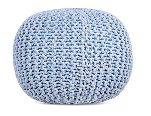 BIRDROCK HOME Round Pouf Foot Stool Ottoman Knit Bean Bag Floor Chair Cotton Braided Cord Great For The Living Room Bedroom And Kids Room Small Furniture Soft Blue 0 0