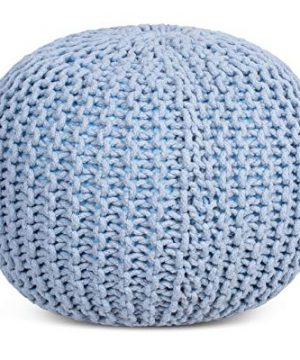 BIRDROCK HOME Round Pouf Foot Stool Ottoman Knit Bean Bag Floor Chair Cotton Braided Cord Great For The Living Room Bedroom And Kids Room Small Furniture Soft Blue 0 300x360