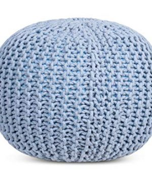 BIRDROCK HOME Round Pouf Foot Stool Ottoman Knit Bean Bag Floor Chair Cotton Braided Cord Great For The Living Room Bedroom And Kids Room Small Furniture Soft Blue 0 4 300x360