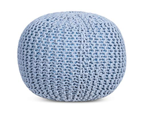 BIRDROCK HOME Round Pouf Foot Stool Ottoman Knit Bean Bag Floor Chair Cotton Braided Cord Great For The Living Room Bedroom And Kids Room Small Furniture Soft Blue 0 4