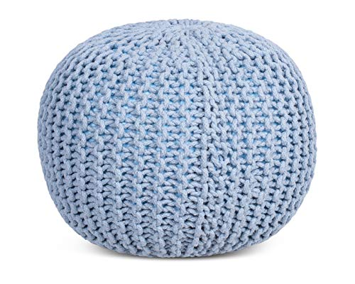 BIRDROCK HOME Round Pouf Foot Stool Ottoman Knit Bean Bag Floor Chair Cotton Braided Cord Great For The Living Room Bedroom And Kids Room Small Furniture Soft Blue 0