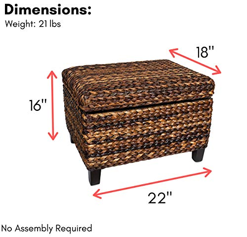 BIRDROCK HOME Woven Seagrass Storage Ottoman With Safety Hinges 0 0