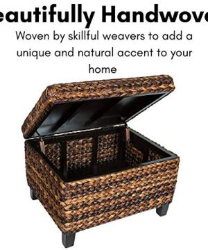 BIRDROCK HOME Woven Seagrass Storage Ottoman With Safety Hinges 0 1 300x360