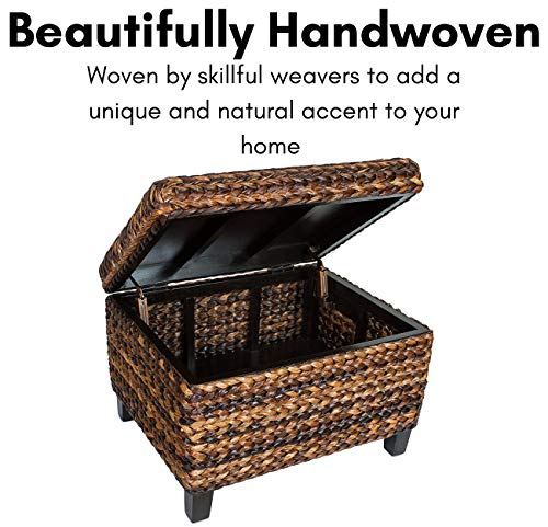 BIRDROCK HOME Woven Seagrass Storage Ottoman With Safety Hinges 0 1