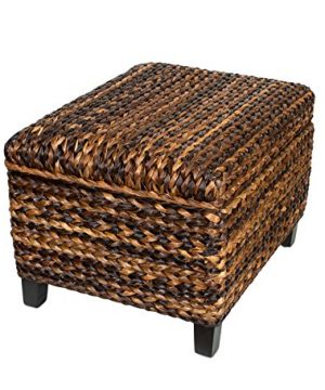 BIRDROCK HOME Woven Seagrass Storage Ottoman With Safety Hinges 0 2 300x360