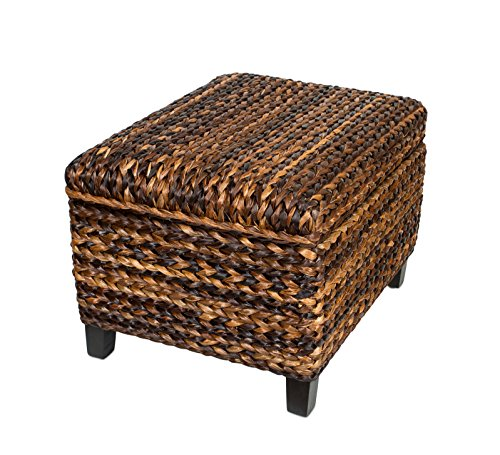BIRDROCK HOME Woven Seagrass Storage Ottoman With Safety Hinges 0 2