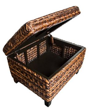 BIRDROCK HOME Woven Seagrass Storage Ottoman With Safety Hinges 0 3 300x360