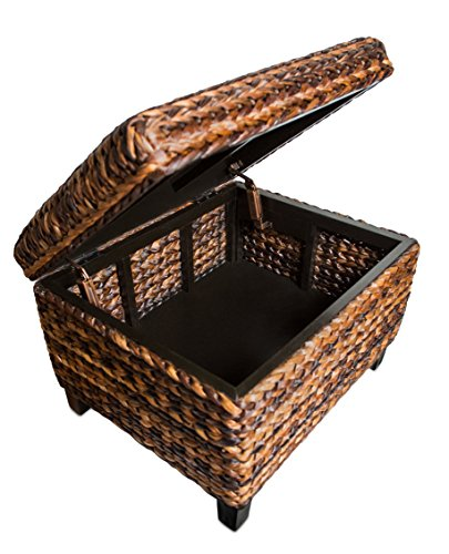 BIRDROCK HOME Woven Seagrass Storage Ottoman With Safety Hinges 0 3