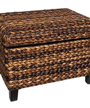 BIRDROCK HOME Woven Seagrass Storage Ottoman With Safety Hinges 0 300x360