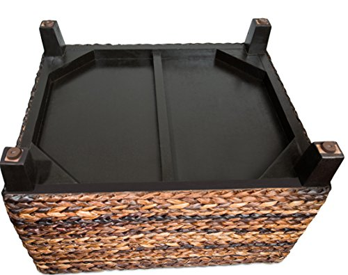 BIRDROCK HOME Woven Seagrass Storage Ottoman With Safety Hinges 0 4