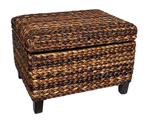 BIRDROCK HOME Woven Seagrass Storage Ottoman With Safety Hinges 0