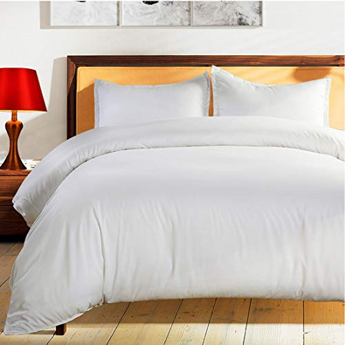 Balichun Duvet Cover Set Twin Size White Premium With Zipper Closure Hotel Quality Wrinkle And Fade Resistant Ultra Soft 2 Piece 1 Microfiber Duvet Cover Matching 1 Pillow Shams 0