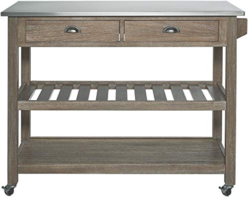 Ball Cast Solano 2 Drawer Wire Brush Rubberwood Kitchen Cart With Stainless Steel Top Grey 0 0