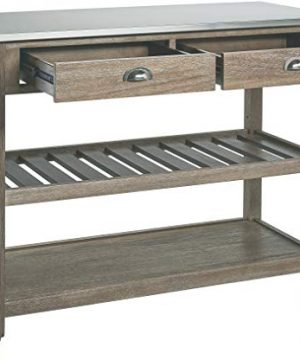 Ball Cast Solano 2 Drawer Wire Brush Rubberwood Kitchen Cart With Stainless Steel Top Grey 0 1 300x360
