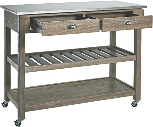 Ball Cast Solano 2 Drawer Wire Brush Rubberwood Kitchen Cart With Stainless Steel Top Grey 0 1
