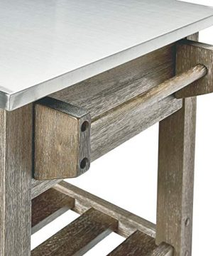 Ball Cast Solano 2 Drawer Wire Brush Rubberwood Kitchen Cart With Stainless Steel Top Grey 0 2 300x360