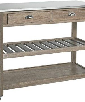 Ball Cast Solano 2 Drawer Wire Brush Rubberwood Kitchen Cart With Stainless Steel Top Grey 0 300x360
