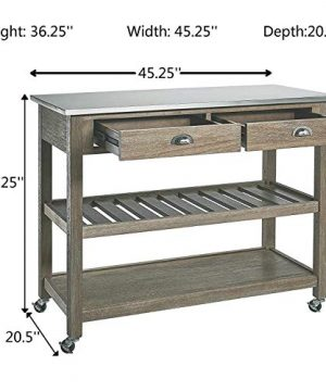 Ball Cast Solano 2 Drawer Wire Brush Rubberwood Kitchen Cart With Stainless Steel Top Grey 0 4 300x360