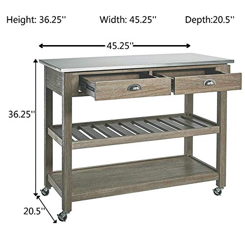 Ball Cast Solano 2 Drawer Wire Brush Rubberwood Kitchen Cart With Stainless Steel Top Grey 0 4