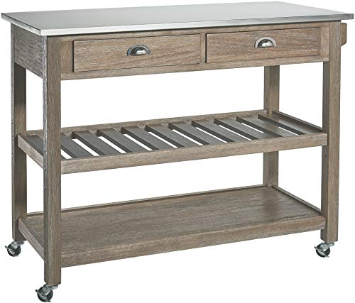 Ball Cast Solano 2 Drawer Wire Brush Rubberwood Kitchen Cart With Stainless Steel Top Grey 0