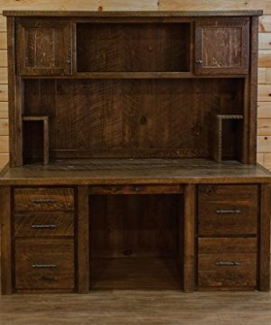 Barn Wood Style Timber Peg Executive Desk With Hutch Amish Made USA 0 300x360