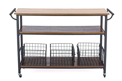 Baxton Studio Lancashire Wood And Metal Kitchen Cart Brown 0 0