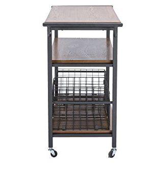 Baxton Studio Lancashire Wood And Metal Kitchen Cart Brown 0 2 300x334