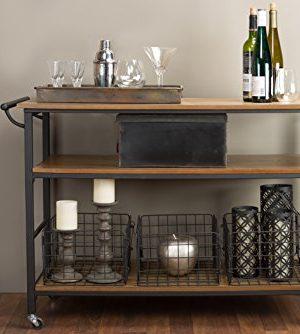 Baxton Studio Lancashire Wood And Metal Kitchen Cart Brown 0 300x334