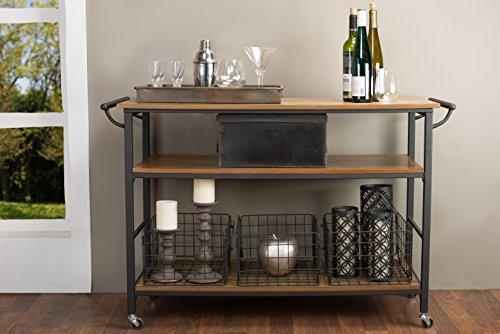 Baxton Studio Lancashire Wood And Metal Kitchen Cart Brown 0