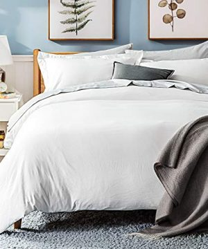 Bedsure White Washed Duvet Cover Set Twin Size With Zipper ClosureUltra Soft Hypoallergenic Comforter Cover Sets 2 Pieces 1 Duvet Cover 1 Pillow Sham 68X90 Inches 0 5 300x360