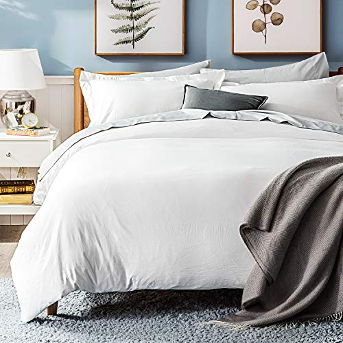 Bedsure White Washed Duvet Cover Set Twin Size With Zipper ClosureUltra Soft Hypoallergenic Comforter Cover Sets 2 Pieces 1 Duvet Cover 1 Pillow Sham 68X90 Inches 0 5