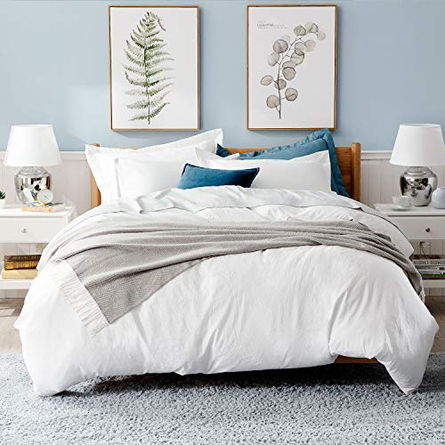 Bedsure White Washed Duvet Cover Set Twin Size With Zipper ClosureUltra Soft Hypoallergenic Comforter Cover Sets 2 Pieces 1 Duvet Cover 1 Pillow Sham 68X90 Inches 0