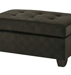 Benjara Benzara Upholstered Ottoman With Tufted Seat Brown 0 300x314