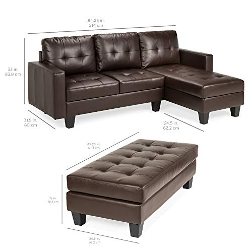 Best Choice Products 3 Seat L Shape Tufted Faux Leather Sectional Sofa Couch Set WChaise Lounge Ottoman Bench Brown 0 1