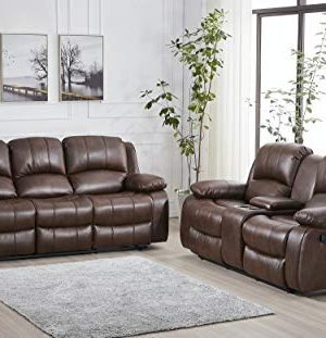 Betsy Furniture 2PC Bonded Leather Recliner Set Living Room Set Sofa Loveseat Pillow Top Backrest And Armrests 8018 Brown Living Room Set 32 0 300x311