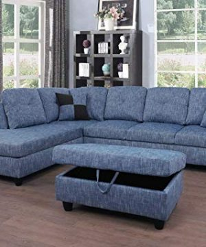 Beverly Fine Furniture Left Facing Linen Russes Sectional Sofa Set Grey 0 300x360