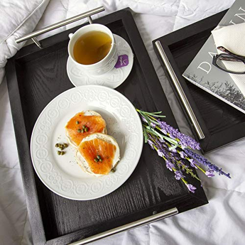 Bison Home Goods Wooden Serving Trays With Stainless Steel Handles 2 Pc Set Black Grain Farmhouse Wood Butler Platters Serve Breakfast Appetizer Coffee Bar And Food Party Or Display Use 0 0