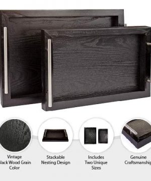 Bison Home Goods Wooden Serving Trays With Stainless Steel Handles 2 Pc Set Black Grain Farmhouse Wood Butler Platters Serve Breakfast Appetizer Coffee Bar And Food Party Or Display Use 0 1 300x360